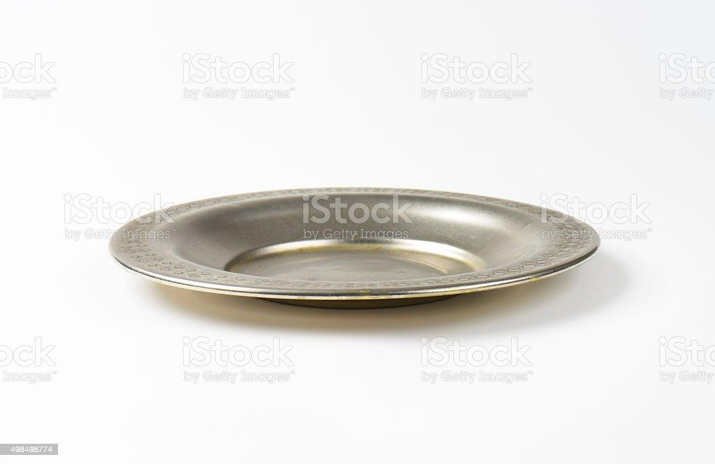 Vintage metal saucer plate stock photo