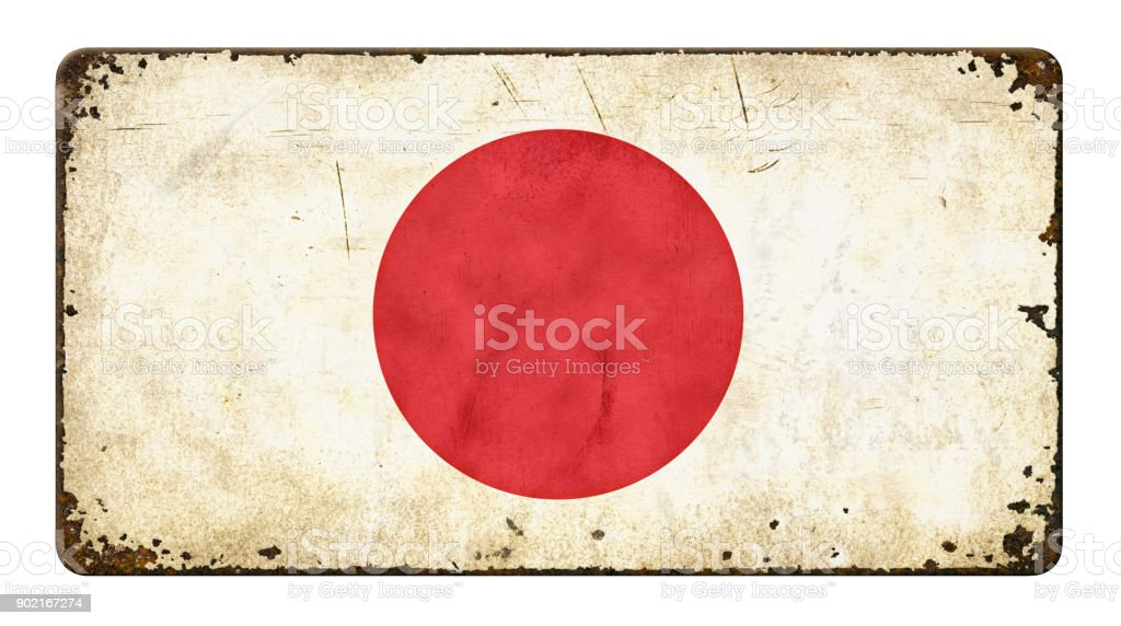 Vintage metal sign on a white background - Flag of Japan stock photo