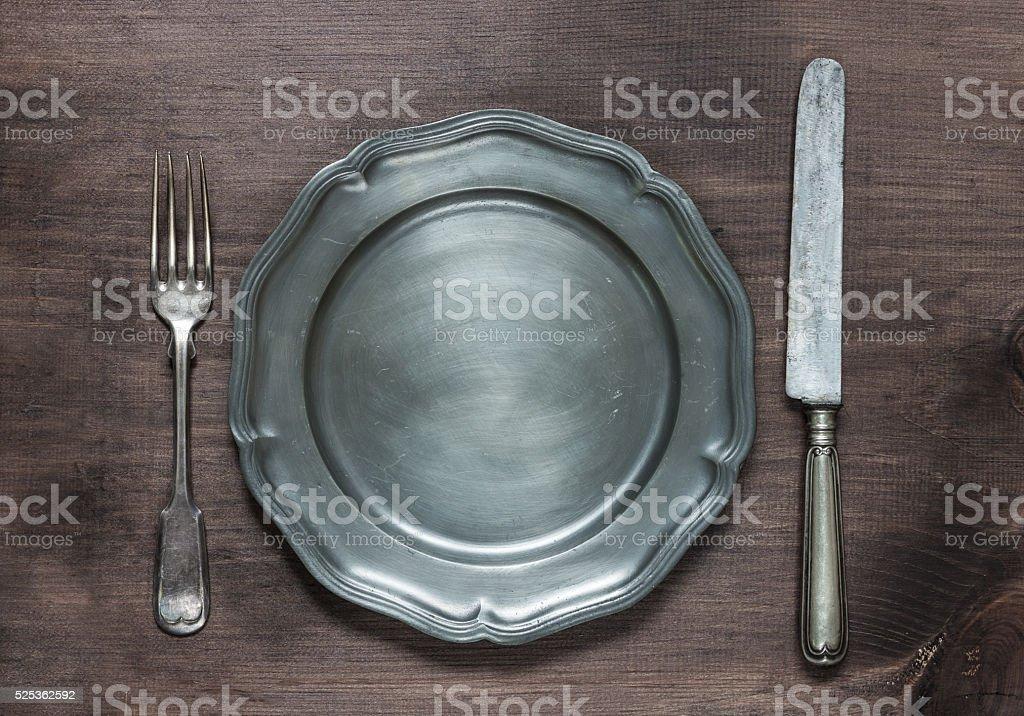 Vintage metal tableware stock photo