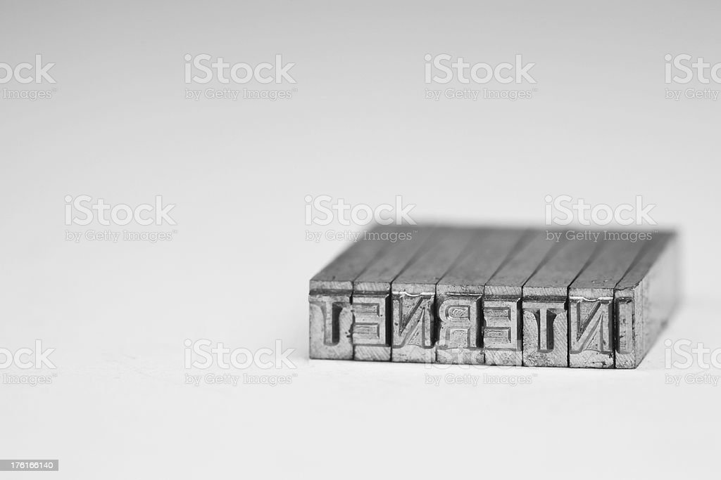 Vintage Metal Type Macro - Internet royalty-free stock photo