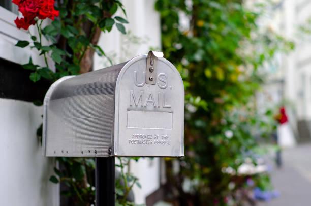 Vintage metal US post mail box stock photo