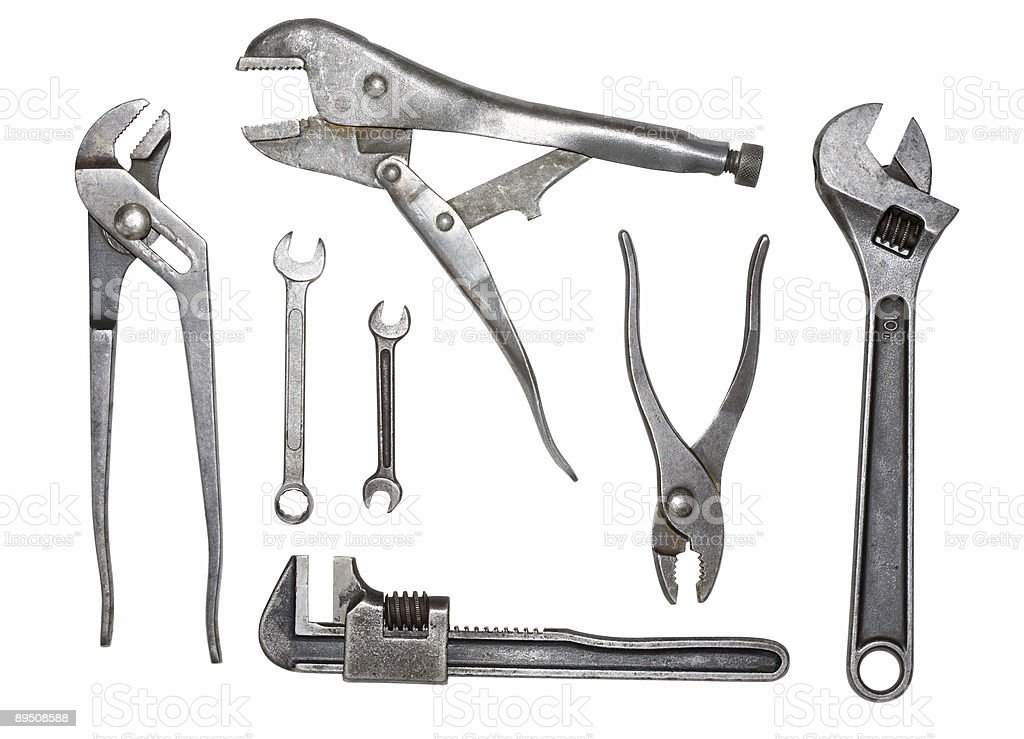 Vintage Metal Wrenches Pliers Vice Grip Tools Isolated Clipping Paths royalty-free stock photo