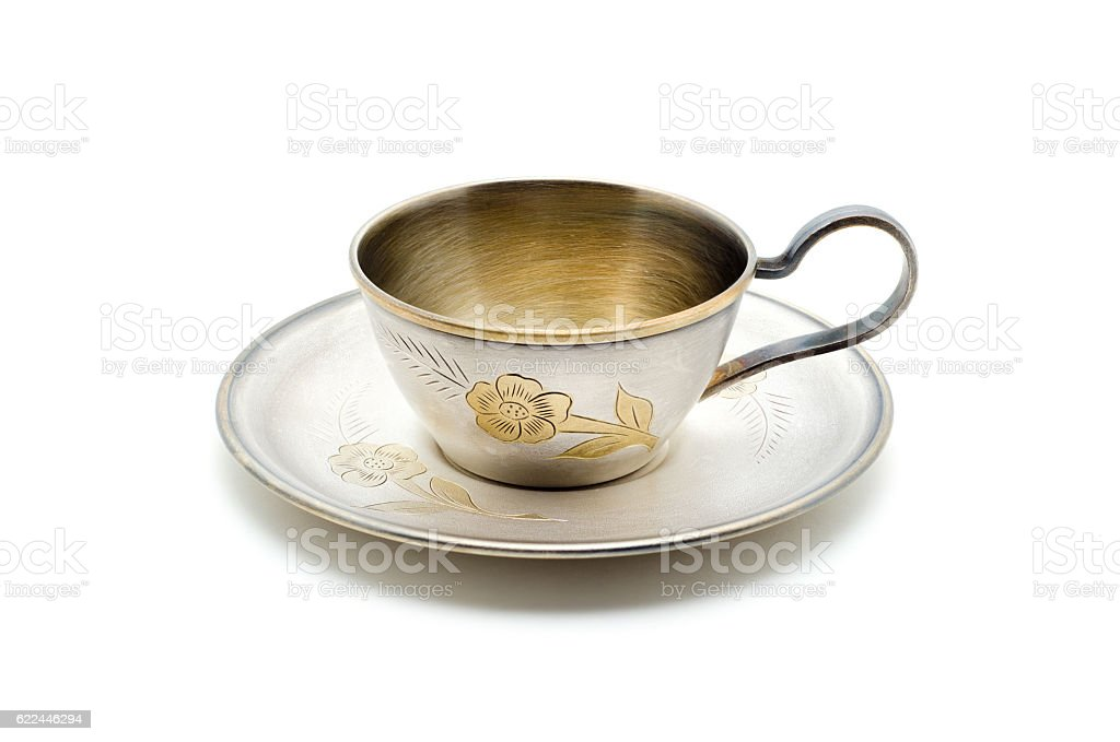 Vintage metall coffee cup isolated on white. – Foto