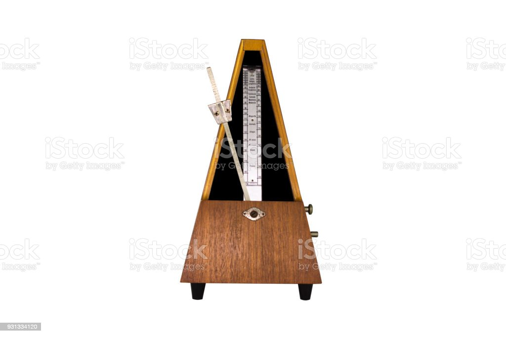 Vintage Metronome Isolated On White Background. Musical Equipment stock photo