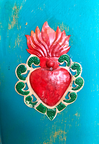 Vintage Mexican Tin Heart; Turquoise Background