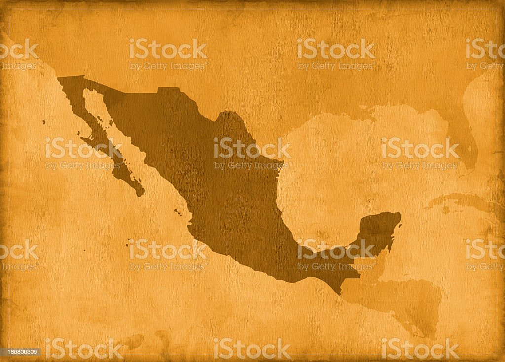 Vintage mexico map royalty-free stock photo