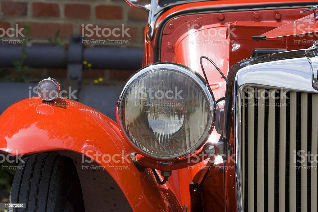 Vintage MG Closeup of Headlight, Wing and Grille stock photo