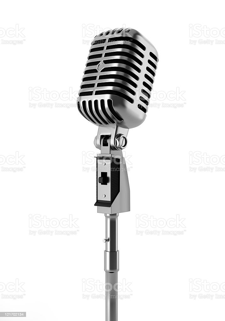 vintage microphone isolated on white background stock photo