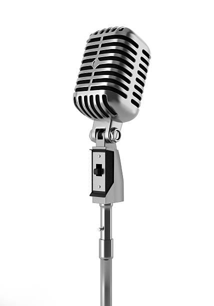 vintage microphone isolated on white background vintage microphone isolated on white background microphone stock pictures, royalty-free photos & images