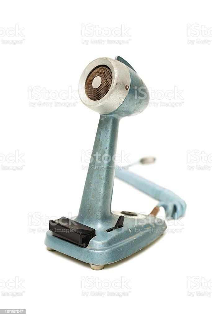Microfone Vintage, isolada no fundo branco, com espaço para texto - foto de acervo