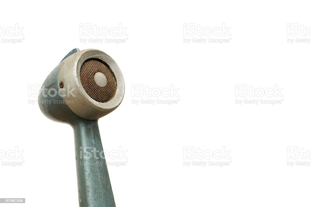 Vintage Microphone, Isolated on White Background, With Copy Space stock photo
