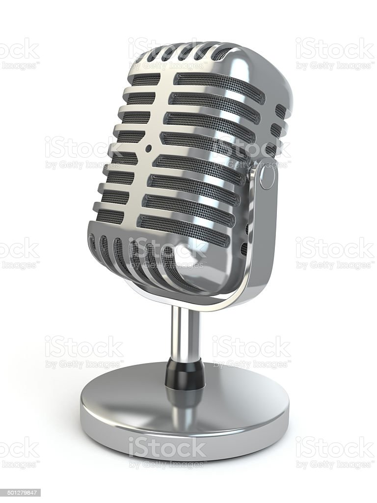 Vintage microphone on a white isolated background. stock photo