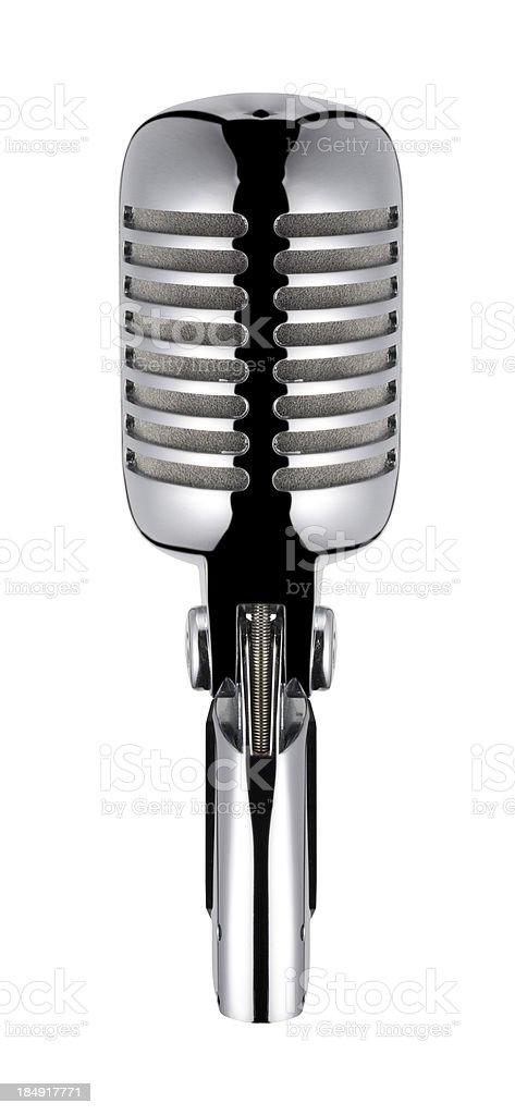 Microfone Vintage, isolado com Traçado de Recorte sobre fundo branco - foto de acervo