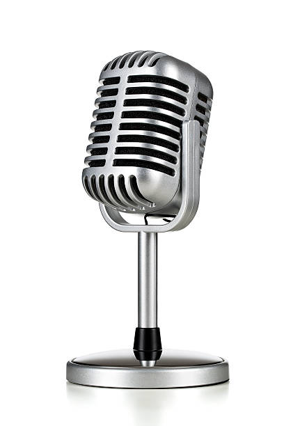 Vintage microphone Vintage silver microphone isolated on white background microphone stock pictures, royalty-free photos & images