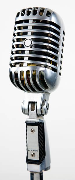 vintage microphone sound gear - retro stock photo