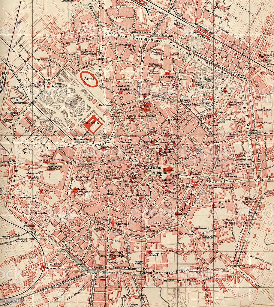 Vintage Milan Map 1880s, Ephemera. stock photo