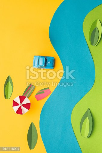 912120622 istock photo Vintage miniature car and bus in trendy color, travel concept 912116924