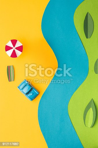 912120622 istock photo Vintage miniature car and bus in trendy color, travel concept 912117682