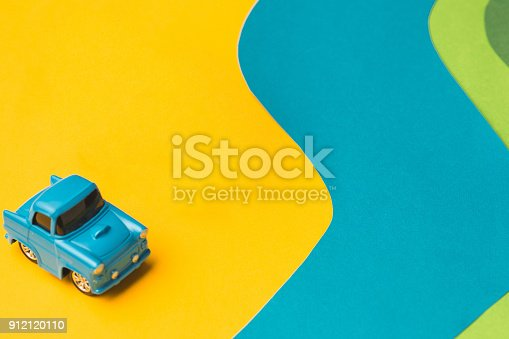 912120622 istock photo Vintage miniature car and bus in trendy color, travel concept 912120110
