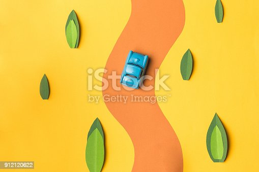 istock Vintage miniature car and bus in trendy color, travel concept 912120622