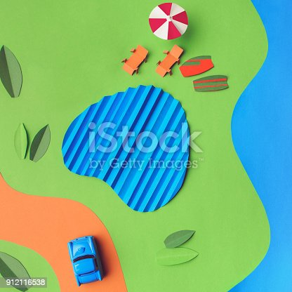 912120622 istock photo Vintage miniature car in trendy color, travel concept 912116538