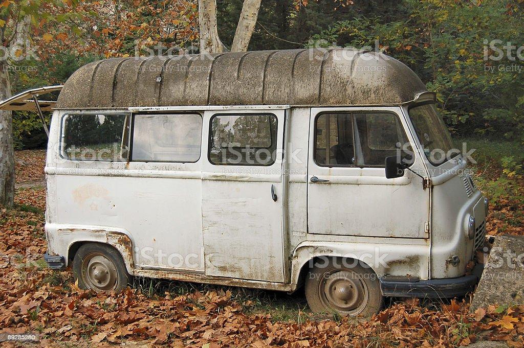 Vintage minivan in Fall royalty-free stock photo