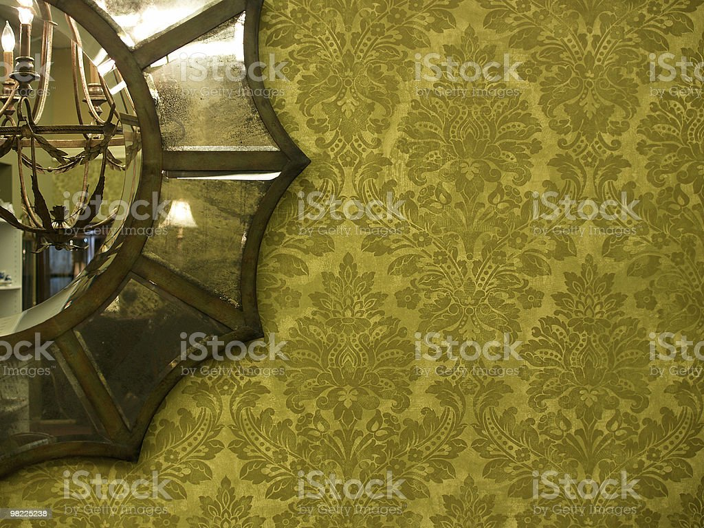 Vintage Mirror and Wallpaper royalty-free stock photo