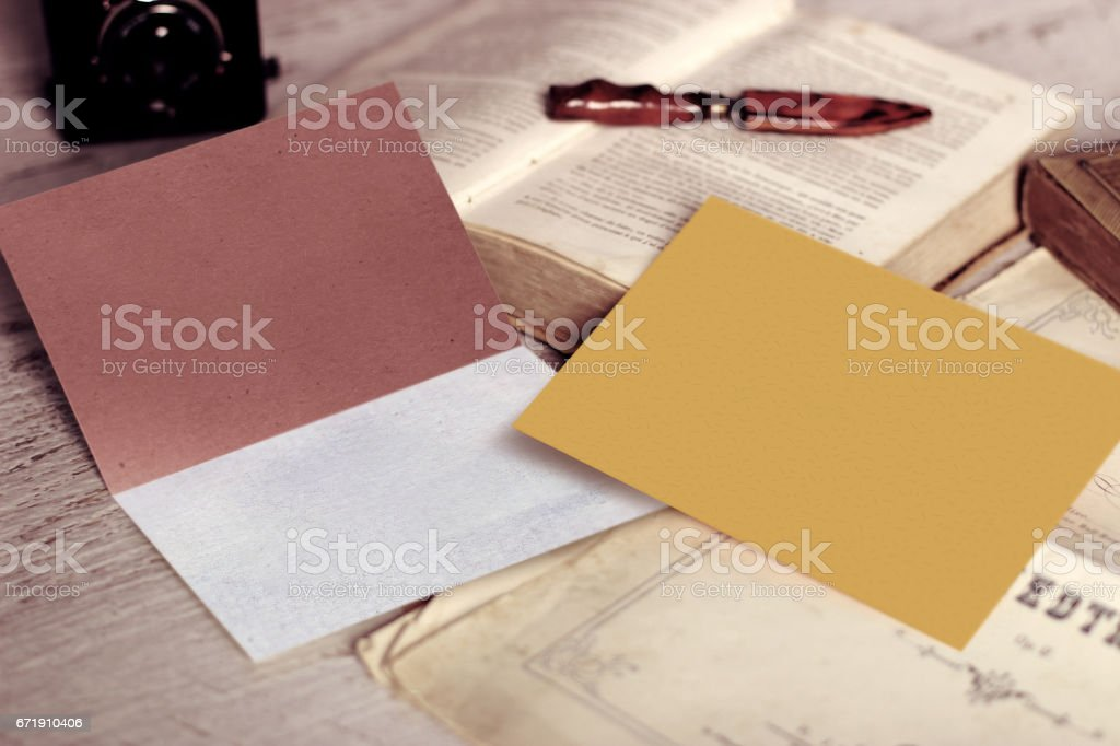 Vintage Mockup of Business Card and Blank Envelope with Copyspace stock photo