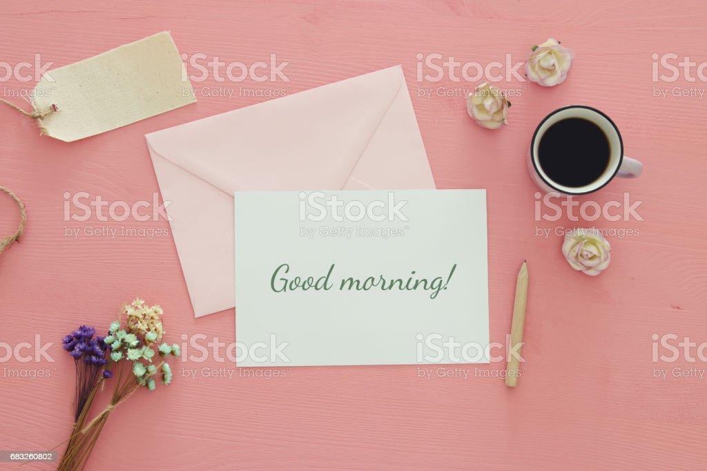 vintage mockup with flowers, cup of coffee and letter foto de stock royalty-free