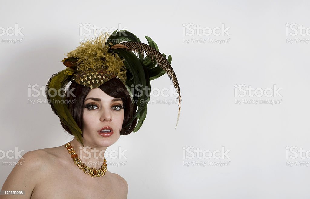 Vintage Model in Feathered Hat royalty-free stock photo
