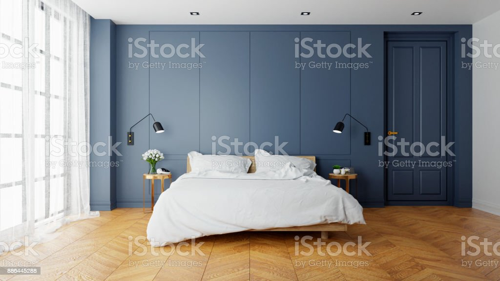 Vintage Modern  interior of  bed room, wood  bed  with wall lamp on  parguet flooring and dark blue  wall  ,3d rendering stock photo
