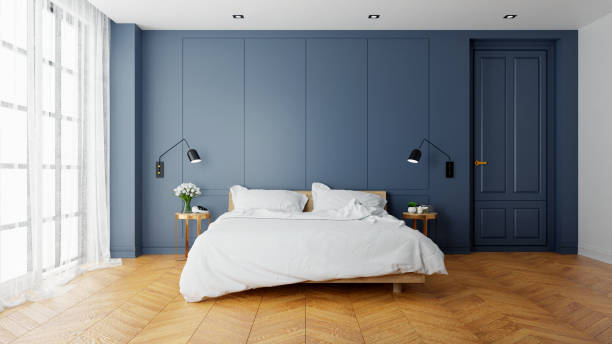 vintage modern  interior of  bed room, wood  bed  with wall lamp on  parguet flooring and dark blue  wall  ,3d rendering - bedroom stock pictures, royalty-free photos & images