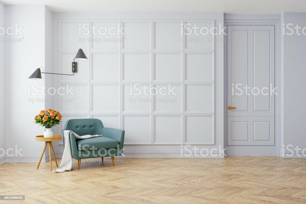Photo de stock de Vintage Interior Moderne Du Canapé Du Salon Bleu ...