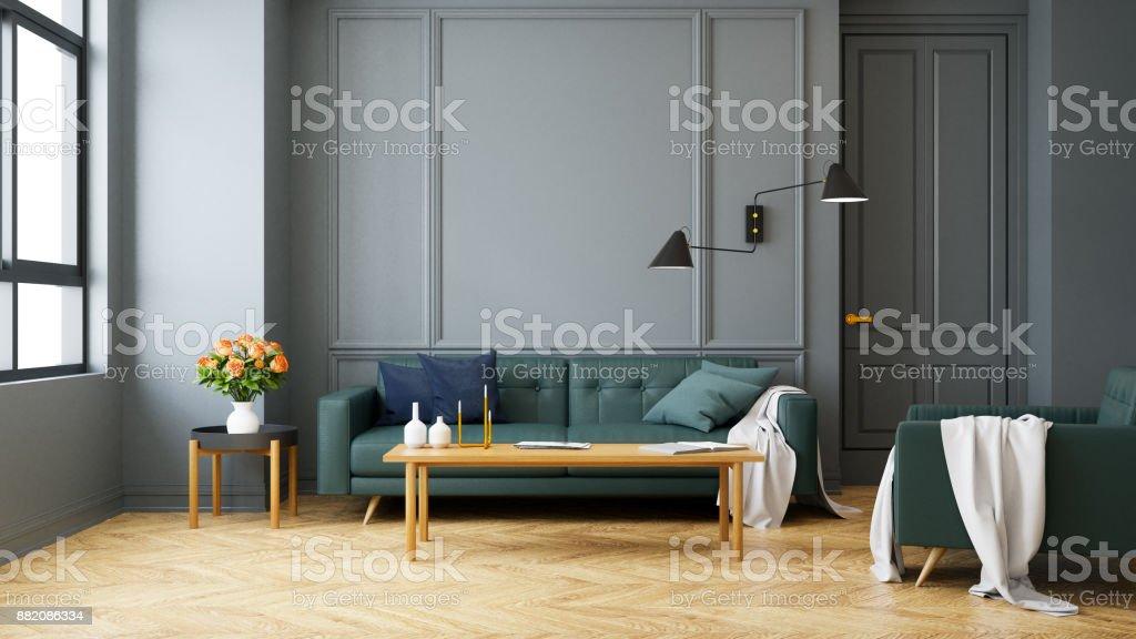 Vintage Moderne Interieur Des Sofa Im Wohnzimmer, Grün Mit Wandleuchte Auf  Holzböden Und Dunkle Graue