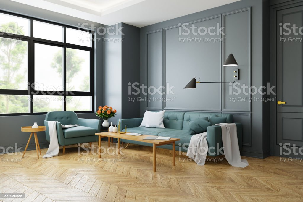 Vintage Modern Interior Of Living Room Green Sofa With Wall Lamp On