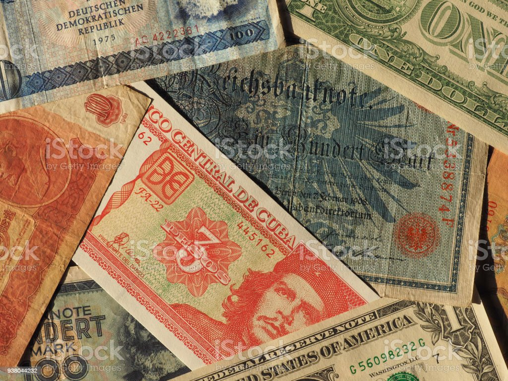 vintage money of communist countries and dollar notes stock photo