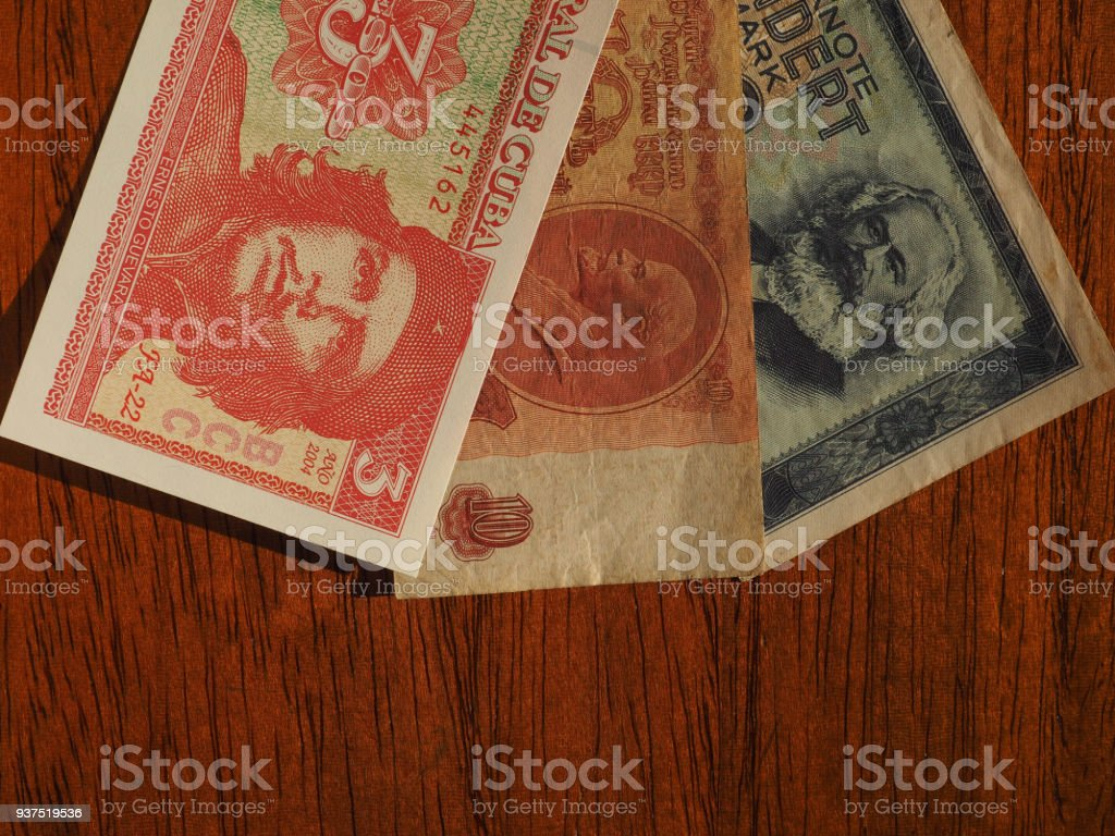 vintage money of communist countries stock photo