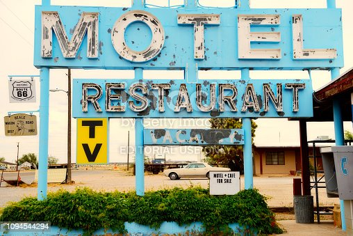 Truxton, Arizona, USA - May 17, 2013 : Motel, Cafe and vintage neon sign on historic Route 66 in Mohave County, Arizona