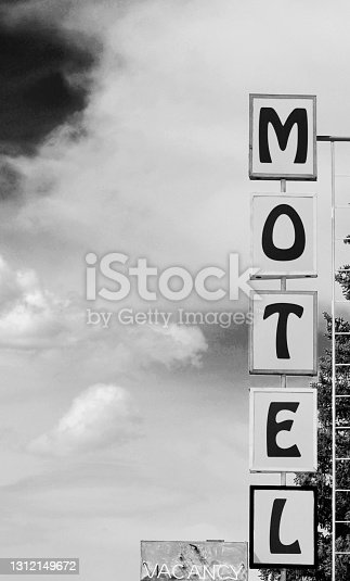 Vintage Motel Sign on Route 66 in Arizona.