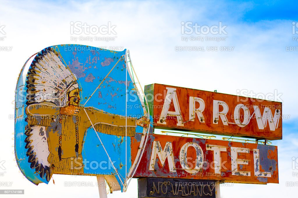 Vintage Motel Sign with Native American Image, New Mexico stock photo
