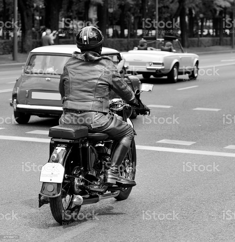 Vintage motorbike rider. royalty-free stock photo