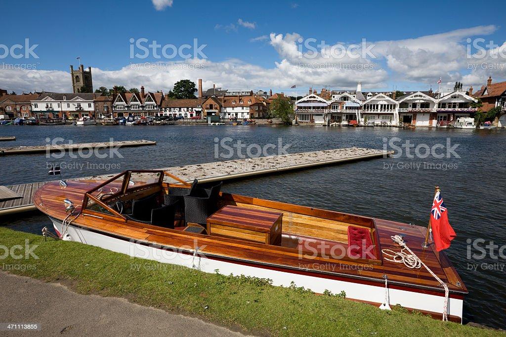 Vintage Motorboat at Henley stock photo