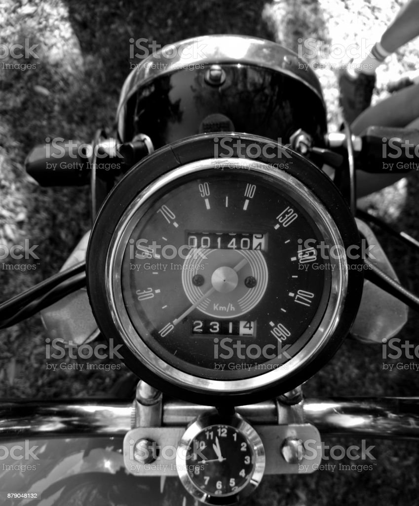 Vintage motorcycle classical gauge top view in black and white stock photo