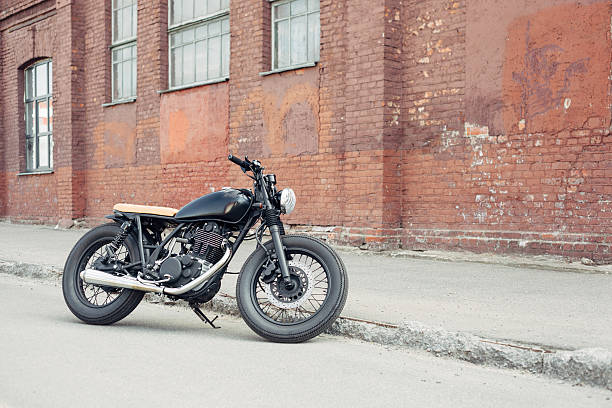 Vintage motorcycle in parking stock photo