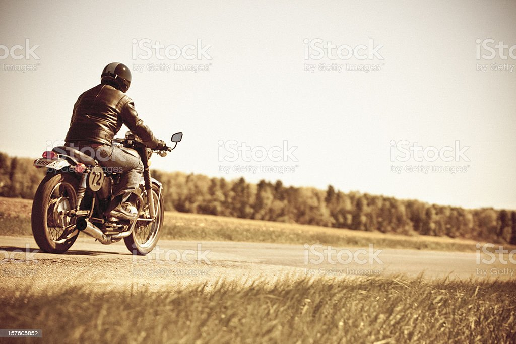 Vintage motorcycle ride stock photo