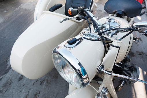 Vintage motorcycle with sidecar