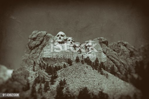 Vintage look and feel of Mount Rushmore