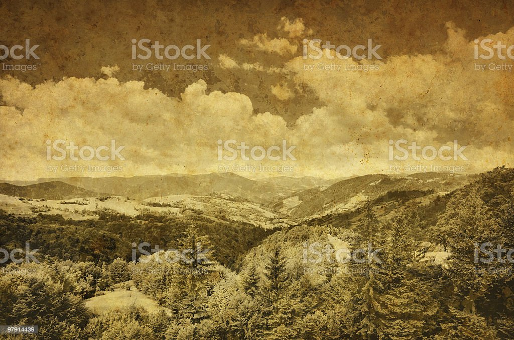 vintage mountain landscape royalty-free stock photo