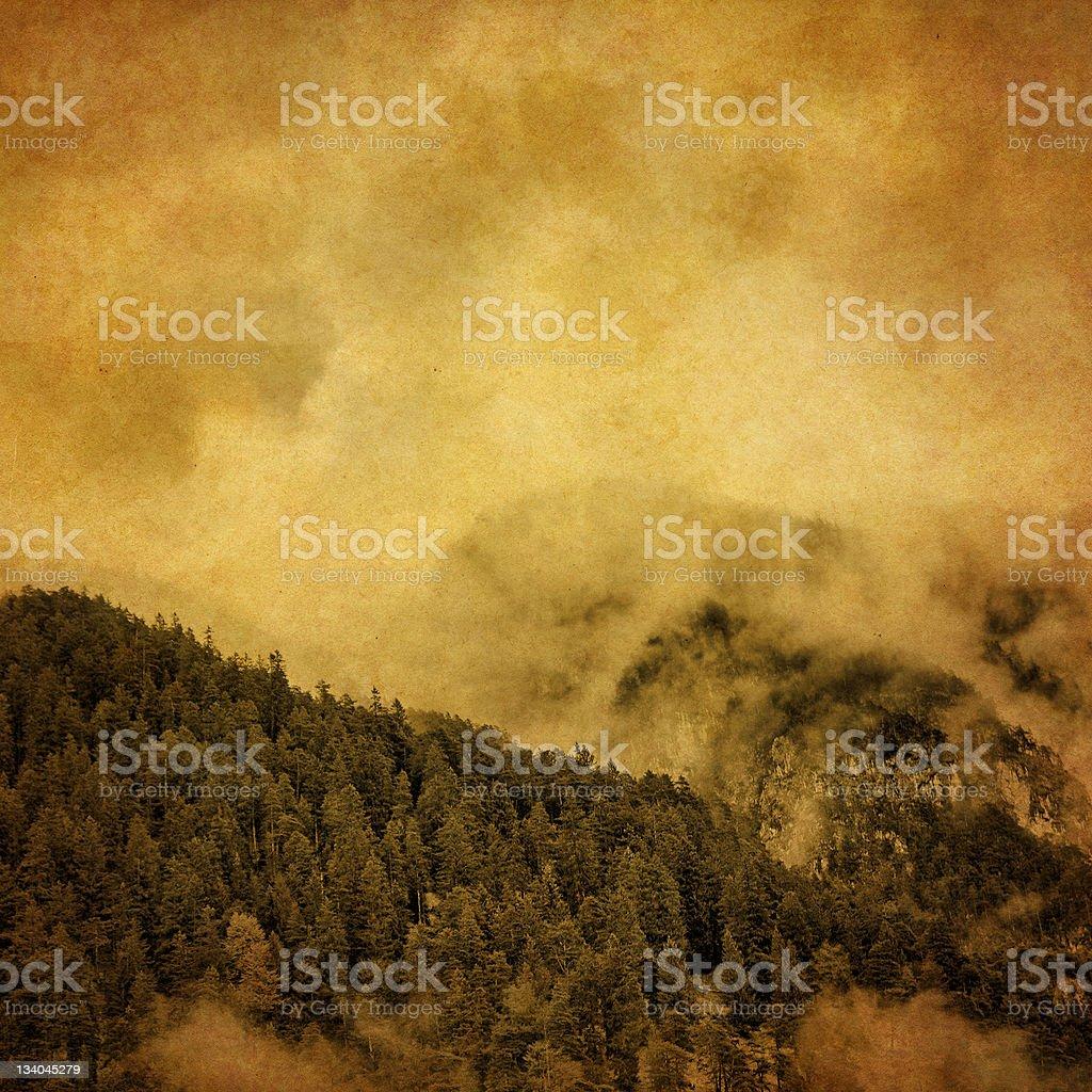 vintage mountain scene royalty-free stock photo