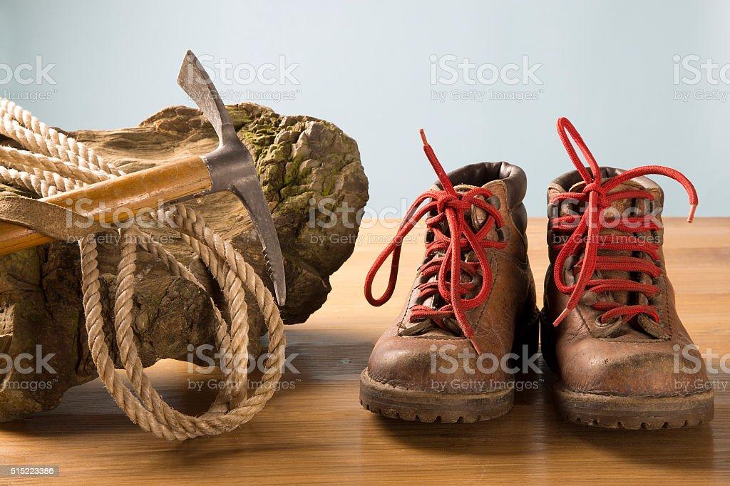 vintage mountaineering equipment stock photo